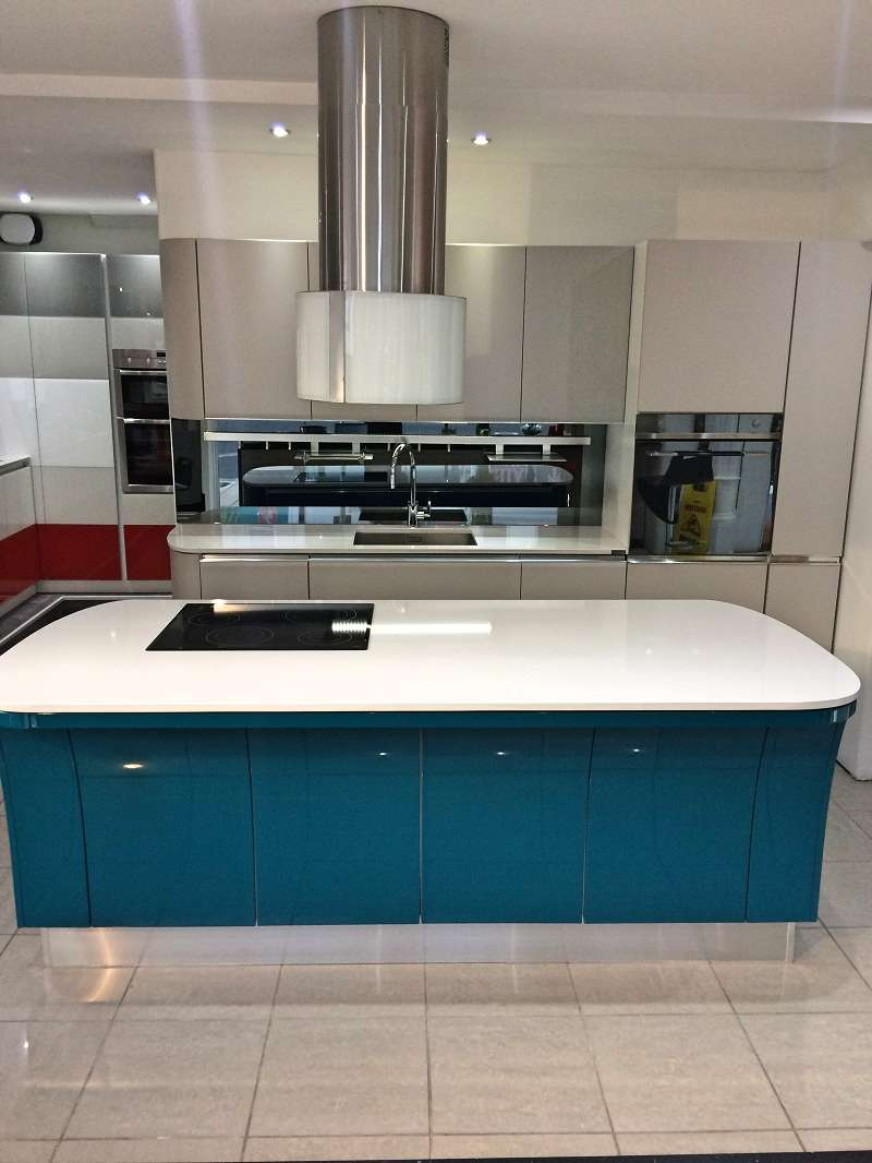 Scavolini tess modern grey blue kitchen with white - Silestone showroom ...
