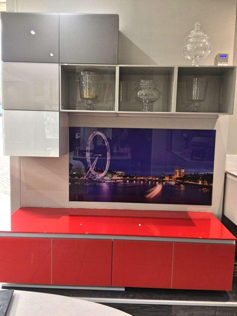 Scavolini Tetrix Modern Red Grey White Glass Units With Grey  # Meuble Tv Watford