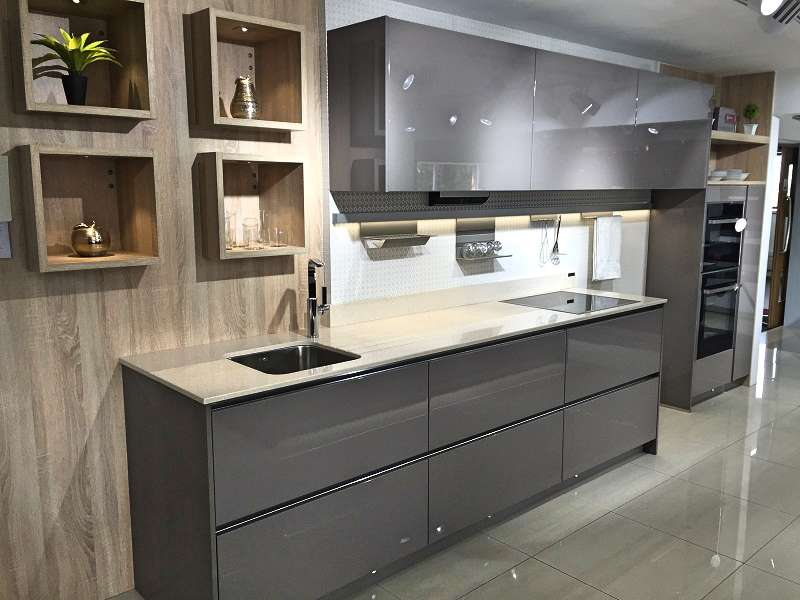Hacker Av4030 Kitchen Basalt Grey Natural Oak Units