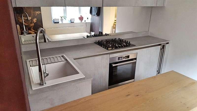 Laminate In Kitchen | Arredo 3 Cement Grey Kitchen With Laminate Worktops Bosch Appliances 00229 Sale