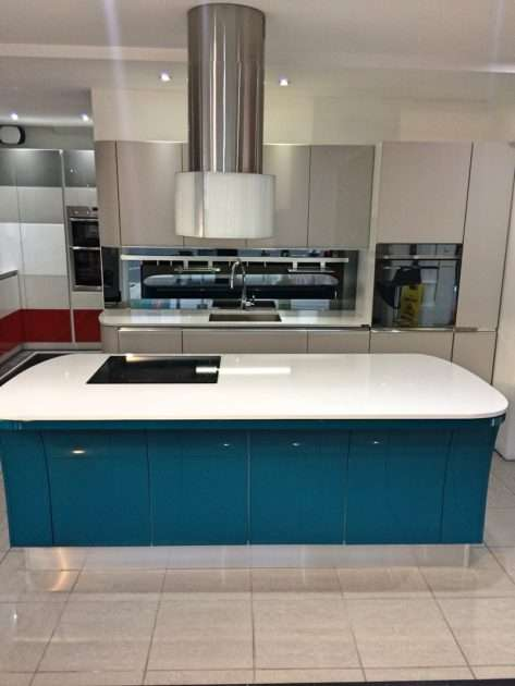 Scavolini Tess Grey & Blue Kitchen with White Silestone Worktops & Neff & Smeg Appliances