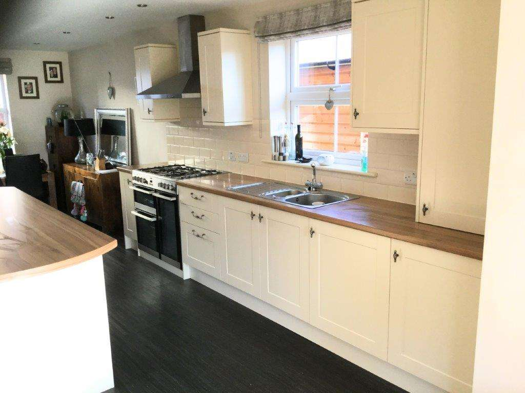 Cream Shaker Kitchen Island Wood Effect