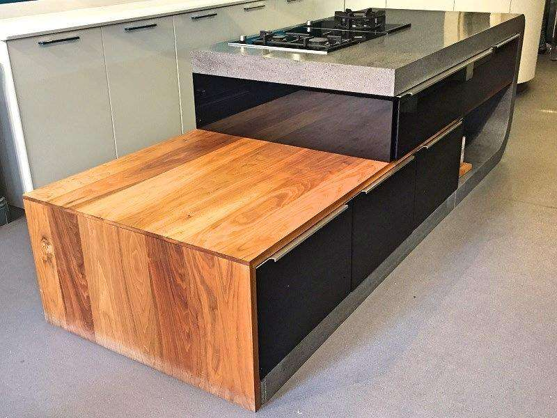 **Sale** Hacker Systemat Kitchen Island Black Lacquered Units with 100mm  Thick Lava Rock Corian & Walnut Wood Cabinet & Siemens Appliances (00264)