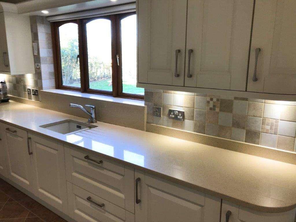 Shaker Kitchen Matt Ivory Kitchen With Quartz Worktops