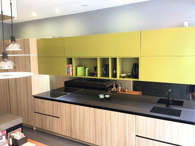 **Sale** Doca Kitchen Light Wood Vertical Grain Effect Laminate with Green  Lacquered Wall Units & Nero Ceramic Worktop & Miele Appliances (00263)