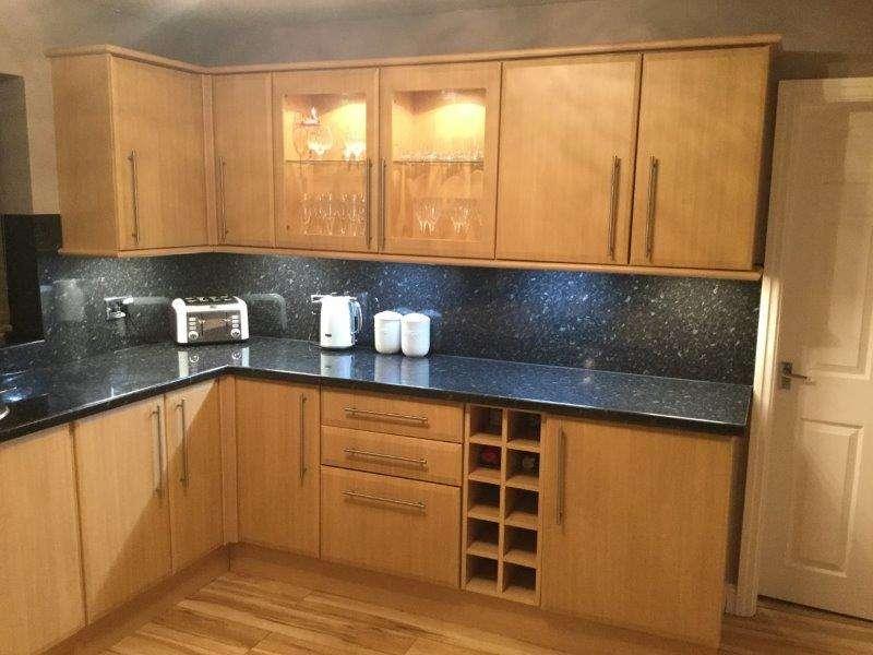 Wood Effect Laminate Kitchen Black Granite Effect