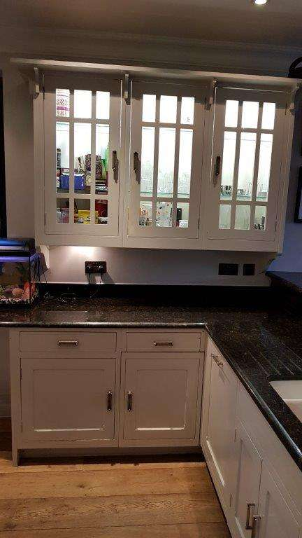 Bespoke Handmade Light Grey Wood Kitchen With Black Granite Worktops