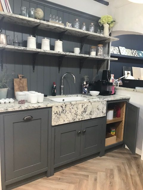 display unit tulip wood dark grey sensa ice blue granite worktops