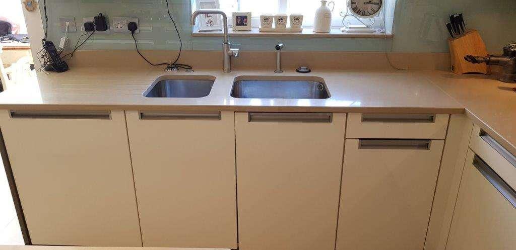 captivating beige gloss kitchen | Modern Gloss Beige Kitchen with Caeser Stone & Appliances ...