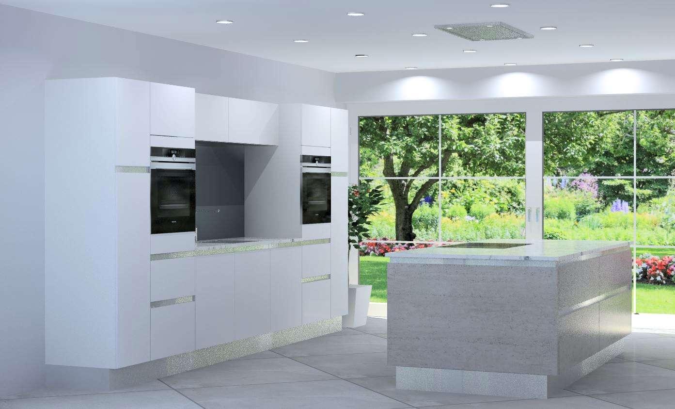 New Burger Kitchen Units Polar White & Concrete Grey Handless