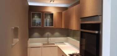 Ex Display Kitchen Mobalpa Kitchen Ivory Gloss & Oak Effect Kitchen, Neff Appliances Quartz Worktops