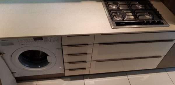 Ex Display Kitchen Mobalpa Kitchen Ivory Gloss & Oak Effect Kitchen, Neff Appliances Quartz Worktops