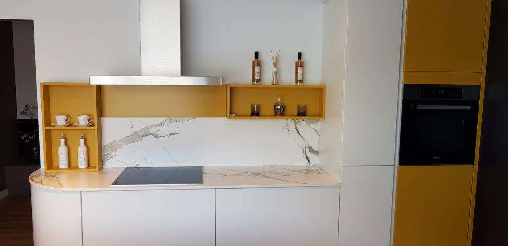 surprising yellow kitchen white appliances   Ex Display Kitchen Soft Ochre, White, Dekton Worktops ...
