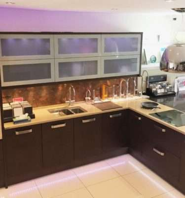 PWS Ex Display Kitchen L-Shapped Izari (Wood Veneer with Glass Wall Units ), Quartz Worktops & Appliances