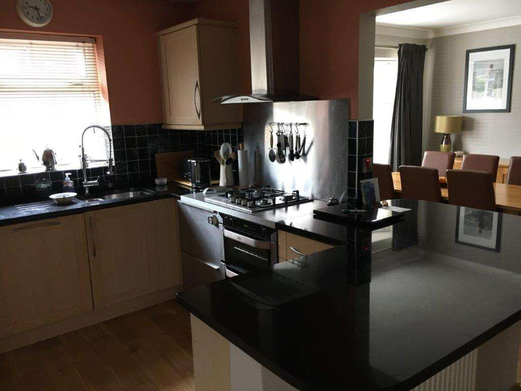 What Is A Kitchen: Pear Wood, Shaker Style Kitchen, Black Granite Worktops