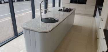 Silver Grey Gloss Handleless Kitchen Island