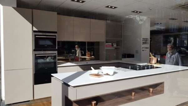 Poggenpohl Goldreif Fango Grey Matt Kitchen with Corian Worktops and Siemens Appliances