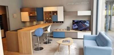 Ex Display Kitchen Blue, Basalt & Light Oak, White, Kitchen, Neff Appliances