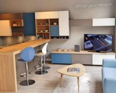 Ex Display Kitchen Blue, Basalt & Light Oak, White, Kitchen, Neff Appliances