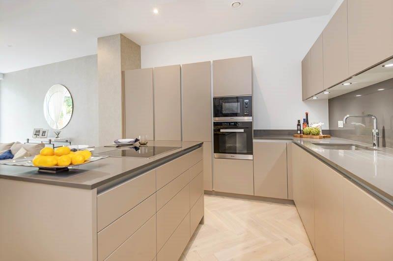 Poggenpohl Sand Grey Matt Handleless Kitchen, Quartz Worktops, Miele &  Quooker Appliances, As New, Only 6 Months Old (1018434)