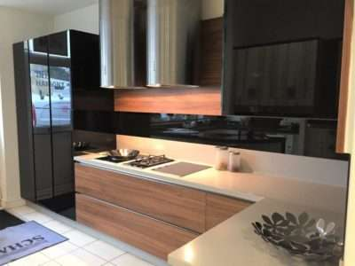 Ex Display Schmidt Kitchen Nocce Lagoon Black Gloss Handleless, Corian Worktops Kuppersbusch Appliances