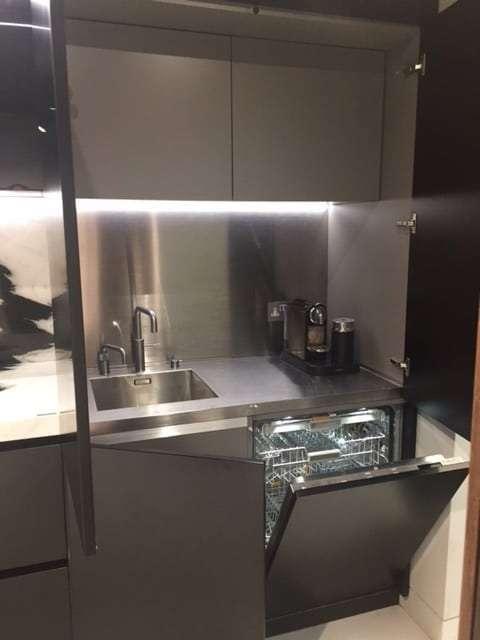 Matt Black Lacquer Kitchen Stone Worktop Quooker