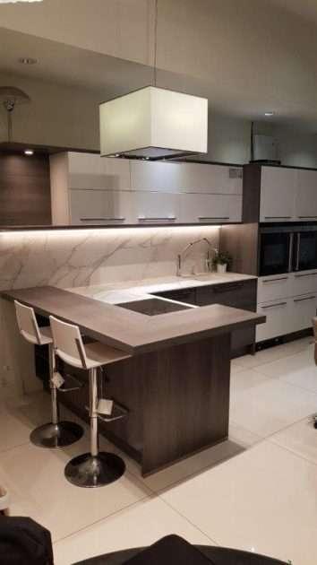Nolte Nova Kitchen Grey & Matt White with Neolith Calacatta (Marble Effect) Worktops & Appliances
