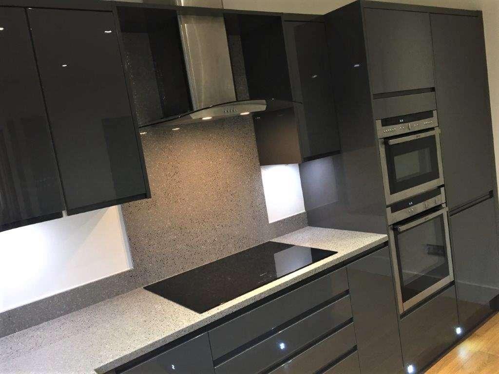 Wren Charcoal Grey Gloss Handleless Kitchen Granite Quartz Appliances