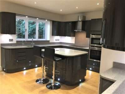 Wren Charcoal Grey Gloss Handleless Kitchen Granite Quartz Worktops with select Appliances