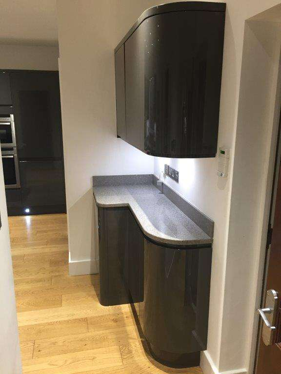 Wren Charcoal Grey Gloss Handleless Kitchen Granite Quartz