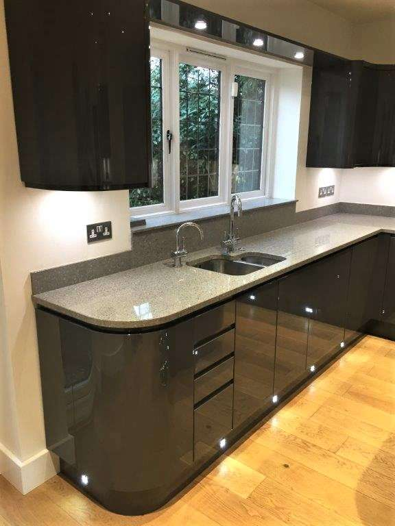 Wren Charcoal Grey Gloss Handleless Kitchen Granite Quartz