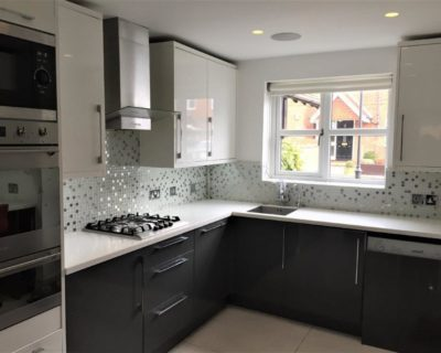 Modern Grey & White Gloss Kitchen Composite Stone
