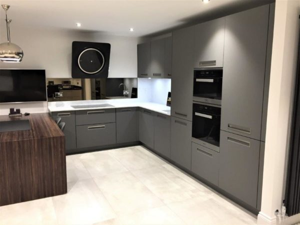 Nolte Kitchen Integra Quartz Grey Soft Matt Modern Handleless Kitchen Quartz Unistone Staturaio 20mm Worktops