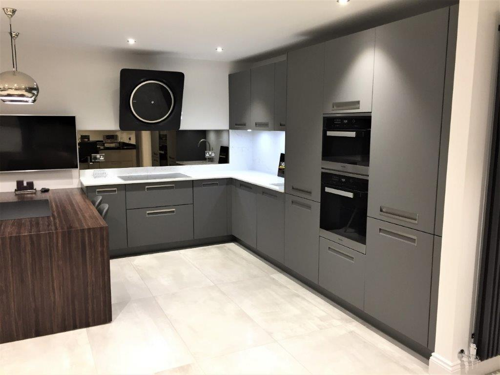 Nolte Kitchen Integra Grey Matt Modern Handleless Quartz 20mm Worktops