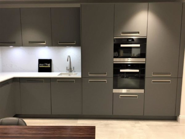 Nolte Integra Quartz Grey Soft Matt Modern Handleless Kitchen Quartz Unistone Staturaio 20mm Worktops