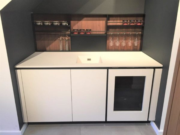 White Alea Furniture, Worktops Sink & Tap, Wine Cooler Wall Racking