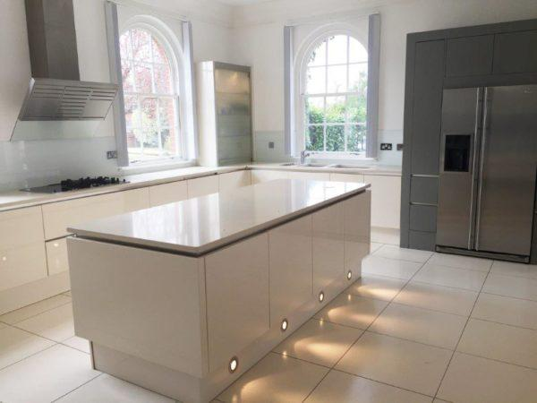 Magnolia High Gloss & Grey Kitchen & Island. Dupont Zodiaq Worktops Miele Appliances