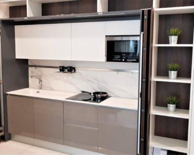 Ex Display Pedini Materika Kitchen with Pocket Doors, Neolith Estatuario