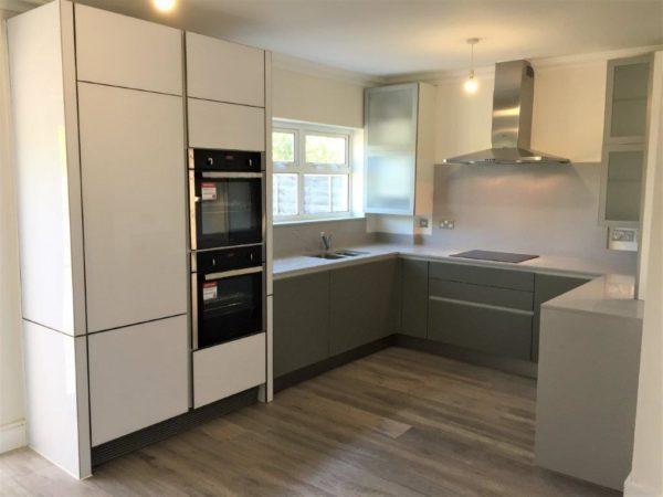 Modern White Glass Aluminium Trim Kitchen