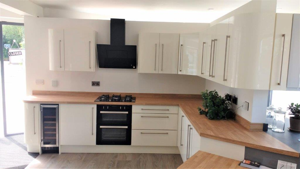 Vogue High Gloss Cream Kitchen With Worktops Appliances 21119691