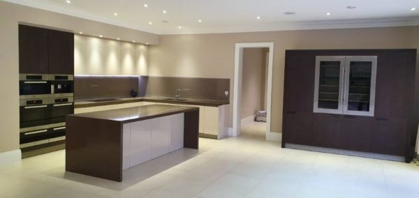 Next line Gloss Kitchen Island Stone Worktops & Miele Appliances