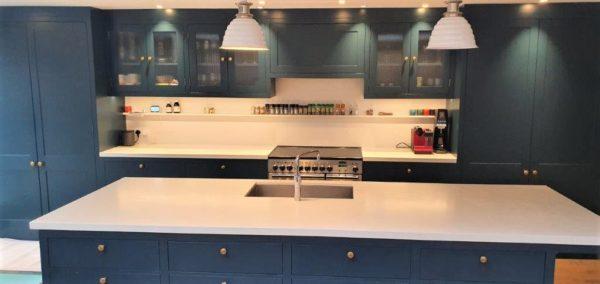 Wood Inframe Shaker Kitchen with Caesarstone Worktops Amazing Appliances inc Quooker Hot Tap