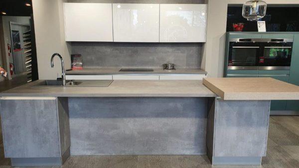 Handless Cristall Polar White & Comet Putty Grey Kitchen, Aqua Marine Laminate, Grey Laminate & Laminate Breakfast Bar Worktops, AEG & Quooker Appliances