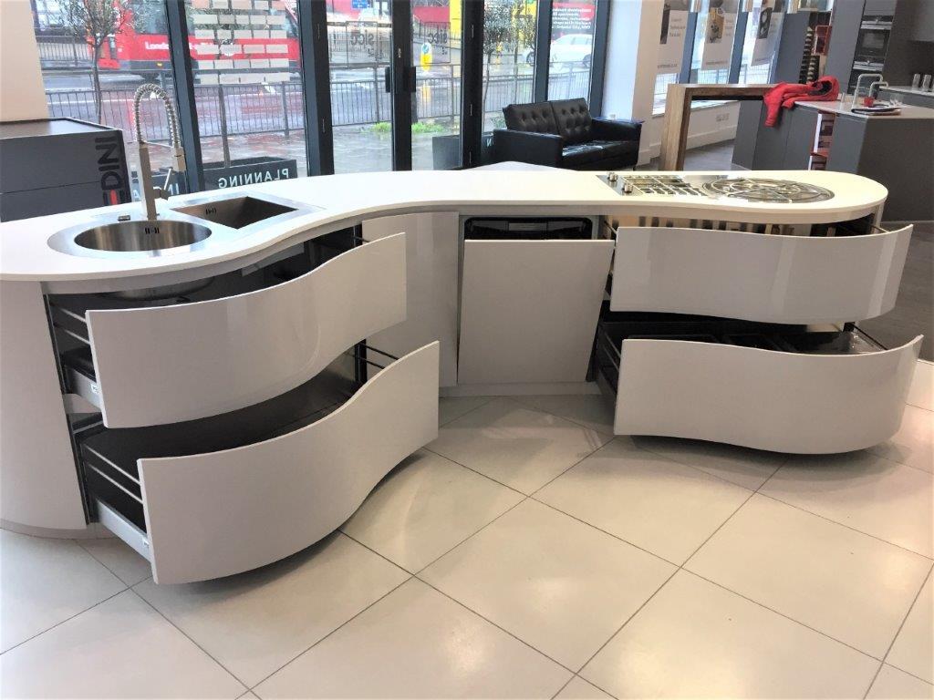 Pedini Dune Kitchen Island White Grey Stone High Gloss Matt Corian Appliances