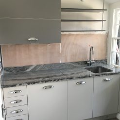 Grey Slab Style Kitchen Neff Appliances & Quartz