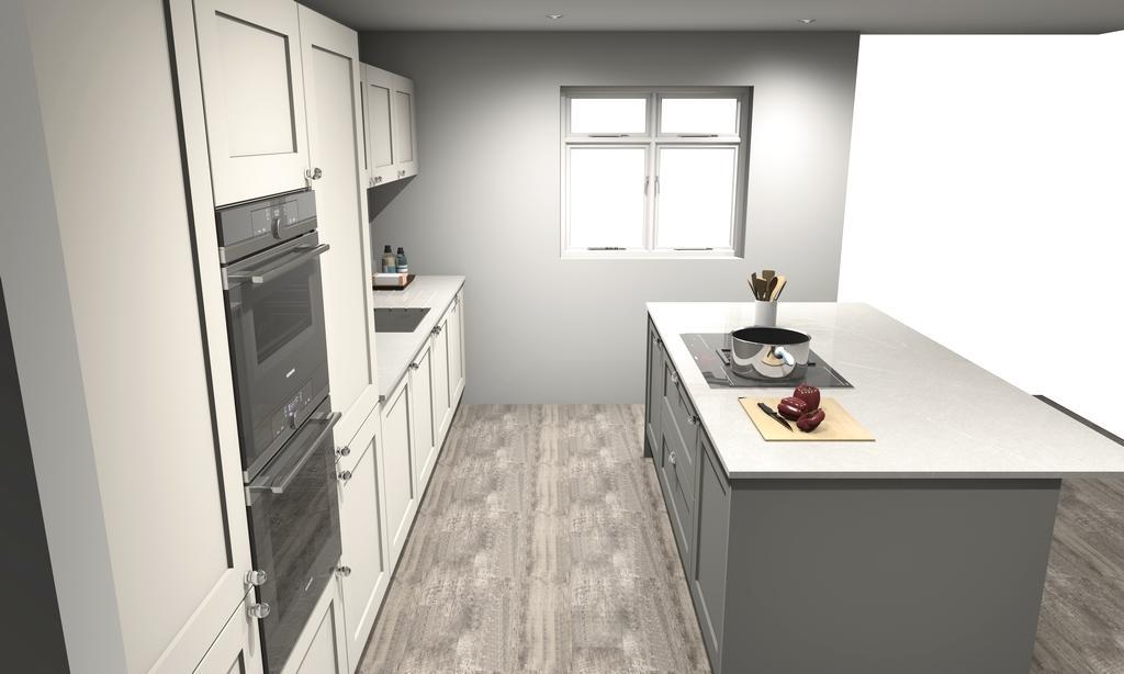 new boxed trend shaker grey kitchen & island appliances