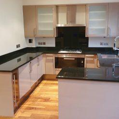 Gloss Taupe Kitchen Miele Appliances Granite Worktop