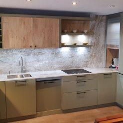 Rotpunkt Matt Snow Lacquer Grey Oak Kitchen