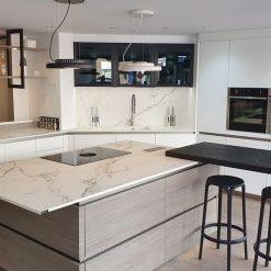 Rotpunkt Matt Snow Lacquer Grey Oak Kitchen Neff Appliances