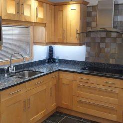 Shaker Light Timber Kitchen 30mm Blue Pearl Granite & Appliances